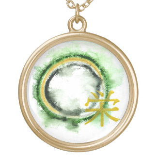 Enso with the Kanji character for Flourish Gold Plated Necklace