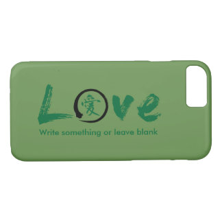 Enso zen circle | Green Japanese symbol for love iPhone 7 Case