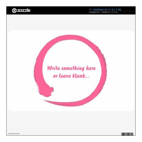 "Enso zen circle pink skin for 11"" MacBook air"