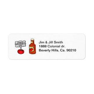 Ensuciada salsa de tomate etiqueta de remite