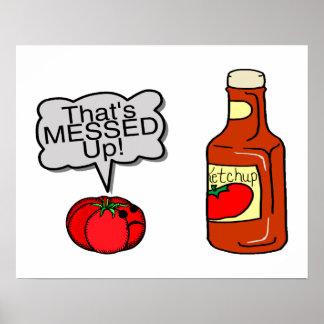 Ensuciada salsa de tomate impresiones