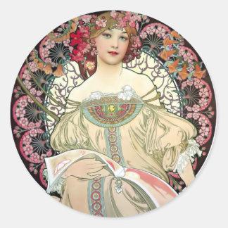 Ensueño 1897 de Alfons Mucha Pegatina Redonda