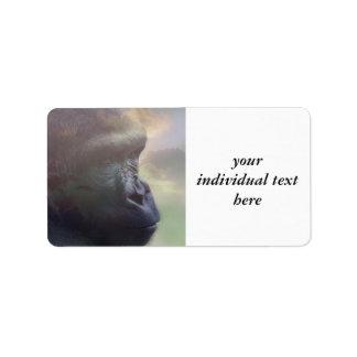 Ensueño del gorila etiquetas de dirección