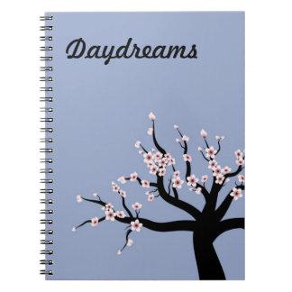 Ensueños del árbol de la flor de cerezo libro de apuntes