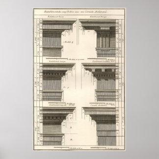 Entablatures del vintage, órdenes de la arquitectu impresiones