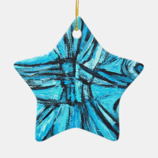 Entangled Cross (linear expressionism) Double-Sided Star Ceramic Christmas Ornament