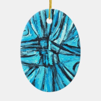 Entangled Cross (linear expressionism) Double-Sided Oval Ceramic Christmas Ornament