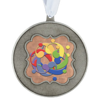 Entangled F Clefs Brightly Colored Scalloped Pewter Christmas Ornament
