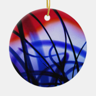 Entangled Grass Double-Sided Ceramic Round Christmas Ornament