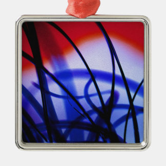 Entangled Grass Square Metal Christmas Ornament