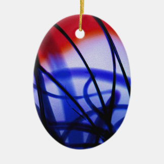 Entangled Grass Double-Sided Oval Ceramic Christmas Ornament