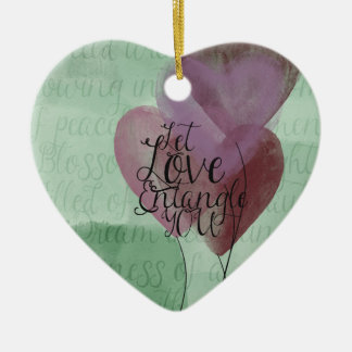Entangled Hearts Double-Sided Heart Ceramic Christmas Ornament