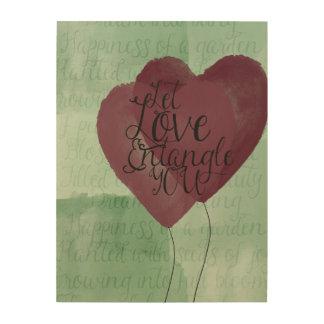 Entangled Watercolor Hearts Wood Print