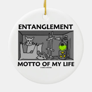Entanglement Motto Of My Life (Quantum Physics) Double-Sided Ceramic Round Christmas Ornament