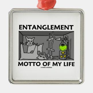 Entanglement Motto Of My Life (Quantum Physics) Square Metal Christmas Ornament