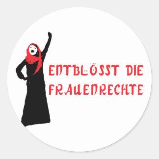 Entblösst die Frauenrechte! Classic Round Sticker