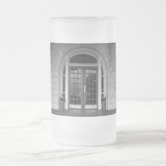Enter If You Dare Grayscale Frosted Glass Beer Mug