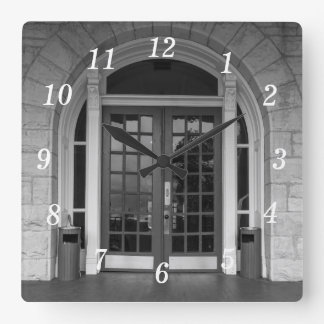 Enter If You Dare Grayscale Square Wall Clock
