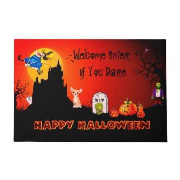 Halloween Themed Enter If You Dare Happy Halloween ( Chihuahua) Doormat