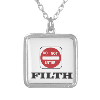 enter not filth silver plated necklace