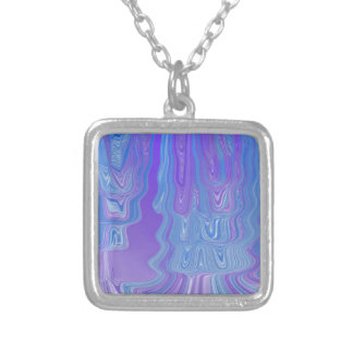 Enter The Flow Abstract Art in Purple and Blue Square Pendant Necklace