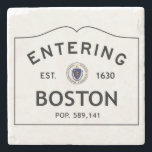 "Entering Boston Coaster<br><div class=""desc"">Stone coaster with entering Boston sign.  Makes a great item for your desk or coffee table or a perfect set of 4 gift.</div>"