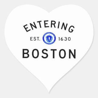 Entering Boston Heart Sticker