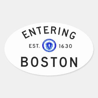 Entering Boston Oval Sticker