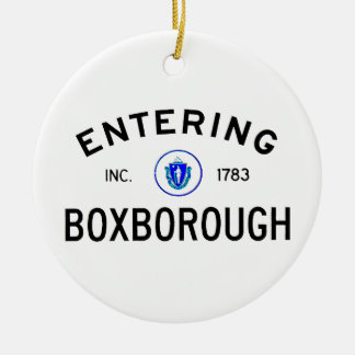 Entering Boxborough Ceramic Ornament