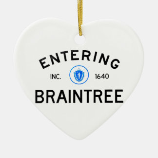 Entering Braintree Double-Sided Heart Ceramic Christmas Ornament
