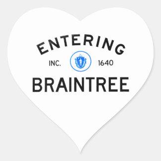 Entering Braintree Heart Sticker
