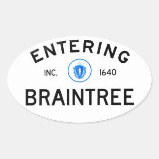Entering Braintree Oval Sticker