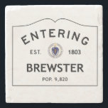 "Entering Brewster Marble Coaster Stone Coaster<br><div class=""desc"">This is a picture of a population sign entering Brewster,  Massachusetts. It shows the year that it was established as well as the population.</div>"