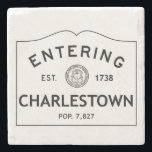 "Entering Charlestown Marble Coaster Stone Coaster<br><div class=""desc"">This is a picture of a population sign entering Charlestown,  Rhode Island. It shows the year that it was established as well as the population.</div>"