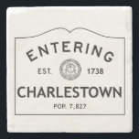 """Entering Charlestown Marble Coaster Stone Coaster<br><div class=""""desc"""">This is a picture of a population sign entering Charlestown,  Rhode Island. It shows the year that it was established as well as the population.</div>"""