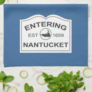 Entering Nantucket Est. 1659 Sign in Beach Blue Kitchen Towel