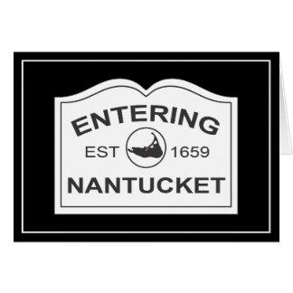 Entering Nantucket Est. 1659 Sign in Black & White Greeting Card