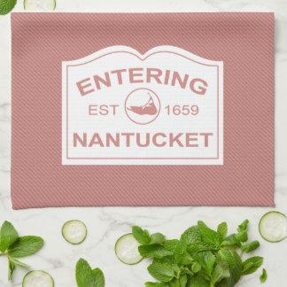 Entering Nantucket Est. 1659 Sign in Black & White Hand Towels