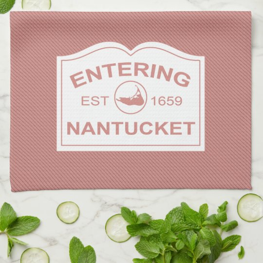 Entering Nantucket Est. 1659 Sign in Black & White Kitchen Towel