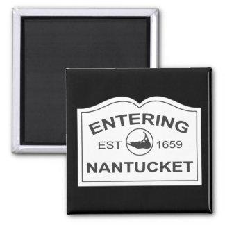 Entering Nantucket Est. 1659 Sign in Black & White Magnet
