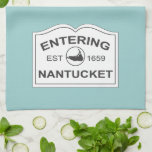 """Entering Nantucket Est. 1659 Sign in Seafoam Blue Towel<br><div class=""""desc"""">A pretty kitchen towel to remind you of your favorite island.  The classic iconic New England white wooden sign,  features the text,  &quot;Entering Nantucket,  Est 1659&quot;. Very crisp and clean looking on a soft aqua seafoam background.</div>"""