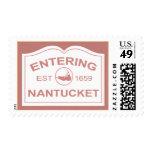 Entering Nantucket Island, Est 1659 Sign in Red Stamps