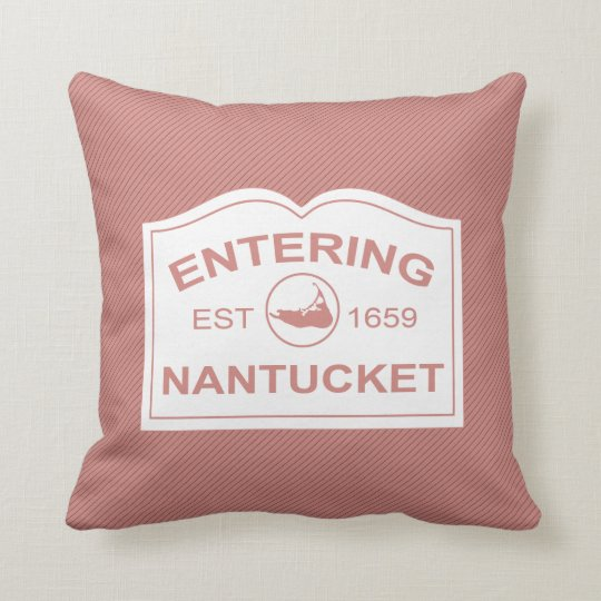 Entering Nantucket Island, Est 1659 with Map Throw Pillow