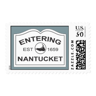 Entering Nantucket White Sign on Faded Blue Postage