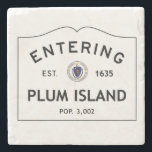"""Entering Plum Island Marble Coaster Stone Coaster<br><div class=""""desc"""">This is a picture of a population sign entering Plum Island,  Massachusetts. It shows the year that it was established as well as the population.</div>"""