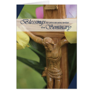 Entering Seminary Wooden Crucifix Card