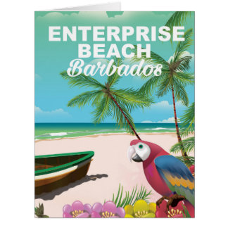 Enterprise Beach Barbados vacation poster Card