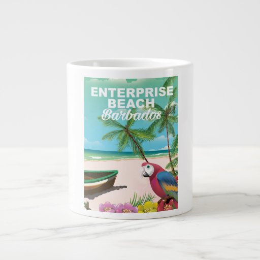 Enterprise Beach Barbados vacation poster Large Coffee Mug