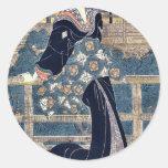 Entertainer on a veranda by Kikukawa,Eizan Round Sticker