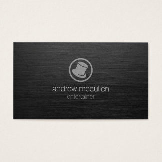 Entertainer Top Hat Icon Dark Brushed Metal Business Card